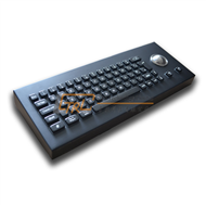 Black desktop metal keyboard with trackball, Cherry key mechanism