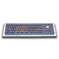 Compact Mini Metal Keyboard with Trackball, black fascia and keytops