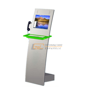 Interactive touchscreen internet IP phone kiosk with metal keyboard