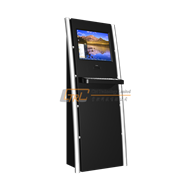 Self hotel check-in / information kiosk with touchscreen and metal keyboard